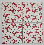 4 Ceramic Coasters in Emma Bridgewater Reindeer